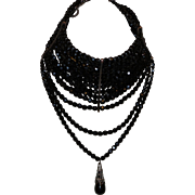 Signed Dior Runway Necklace With Thirteen Strands of French Jet