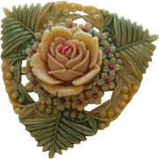 Signed Japan Celluloid Brooch with Carved Rose Flower