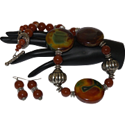 Artisan Hand Strung Necklace of Carnelian, Agate, Bandied Agate and Bali Silver with Earrings
