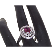 14KWG Pink Tourmaline Filigree Ring with Diamonds