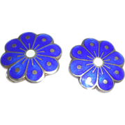 Vintage Signed David Andersen Norway Sterling Enamel Earrings