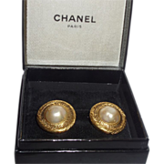 Vintage Signed Chanel Simulated Baroque Pearl Earrings with Original Box