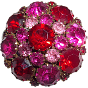 Vintage Red Pink Fuchsia Rhinestone Brooch