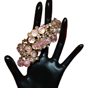 Vintage Juliana Clamper Bracelet with Pink Givre' Glass and Dangles