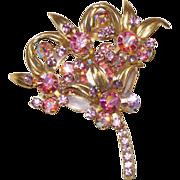 D&E Juliana Floral Spray Brooch with Pink Rhinestones