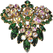 Vintage Juliana Brooch with Green Navettes and Aurora Borealis Crystal