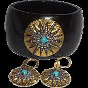 SALE Signed Vintage K J Lane Glossy Black Resin Cuff Bracelet and Earrings