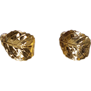 Signed Napier Gold Tone Leaf Earrings