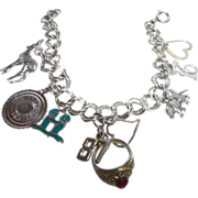 SALE Vintage Silver Tone Charm Bracelet with Four Sterling Silver Charms