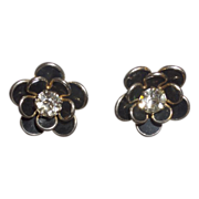 Stunning Black Enamel and Clear Chaton Flower Earrings