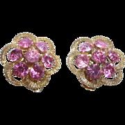 SALE Beautiful Vintage Flower Shape Large PinK Rhinestone Earrings