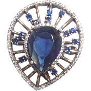 Vintage Ethnic Large Faux Sapphire with Russian CZ Set In Silver