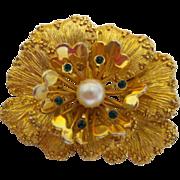 Vintage Signed Sarah Coventry Flower Brooch