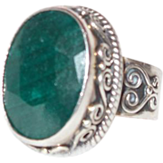 SALE Ethnic Faceted Emerald Glass Ring Set in Silver