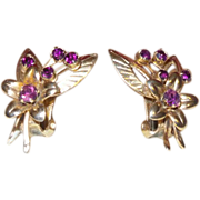 Vintage Faux Amethyst Flower Earrings