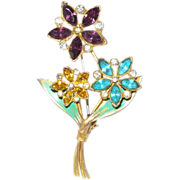 Vintage Multi Colored Rhinestone Flower Brooch