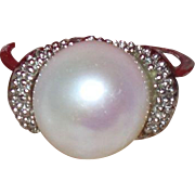 SALE Vintage Sterling Silver Cultured Pearl Ring with Diamonds