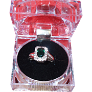 Vintage Emerald Cut Synthetic Emerald set In Silver Ring