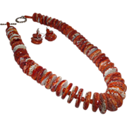 SOLD Gorgeous Spiny Red Orange Oyster and Carnelian Necklace and Earrings - Red Tag Sale Item