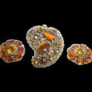 SALE Beautiful Vintage Amber Colored Rhinestone Brooch and Earrings Set