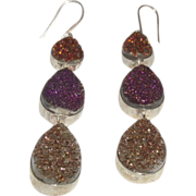 SALE Hand Made Creation By Danae of Druzy Quartz Dangling Earrings