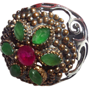 SALE Vintage Ethnic Emerald and Ruby Ring set in Silver