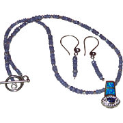 Artisan Hand Strung Tanzanite Necklace with Opal Pendant with Earrings