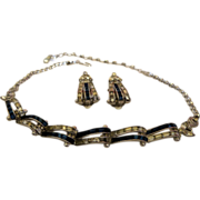 Vintage Signed Pennino Baguette Necklace and Earrings