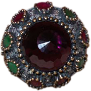 SALE Ethnic Ring With An Amethyst Glass Stone with Natural Rubies and Emeralds Set In ...