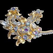Vintage D&E for Juliana Blue Venus Flame Brooch and Earring Set