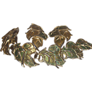 Vintage Unsigned Gold Tone and Green Enamel Leaf Bracelet with Earrings