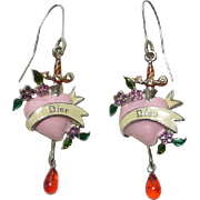 SALE Authentic Christian Dior Vintage Bleeding Heart Enamel Pierced Earrings