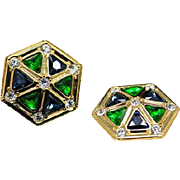 SALE Authentic Christian Dior Vintage Blue Green Hexagonal Clip Earrings