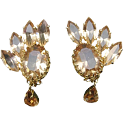 SALE Authentic Christian Dior Vintage 1961 Yellow Diamond Cut Crystal Statement Clip Earrings