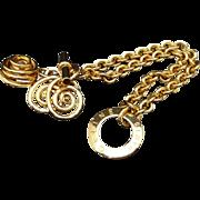 SALE Authentic Celine Vintage Gold Plate Charm Toggle Bracelet
