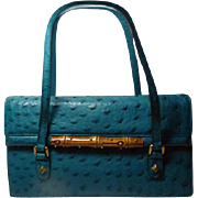 SOLD Authentic Gucci Teal Blue Ostrich and Bamboo Handbag Rare