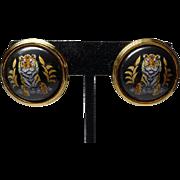 SALE Authentic Hermes Tigre Royale Royal Tiger Black Enamel Clip Earrings