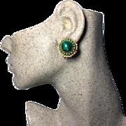 SALE Authentic William De Lillo Vintage 1960s Green Glass Clip Earrrings [Edit]