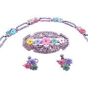 1930s Deco Pastel Flower and Rhinestone Brooch Bracelet and Earring Set