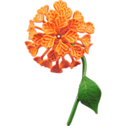 REDUCED Dimensional Orange Enameled 1960s Puff Blossom Flower Pin