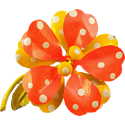 REDUCED Super 60s Yellow and Orange Polka Dot 'Flower Power' Pin