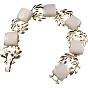 REDUCED Silvertone Leaf Motif and Ice Blue Moonglow Thermoplastic Link Bracelet