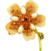 REDUCED 1960s Enameled Fancy Metal Flower Pin with Golden Yellow Rhinestones