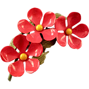 REDUCED Weiss Enameled 1960s Red Flower Trio Cluster Brooch