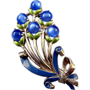 REDUCED Coro Deep Blue Moonglow Floral Bouquet Brooch