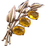 REDUCED Retro Moderne Yellow Unfoiled Rhinestone Leafy Flower Brooch