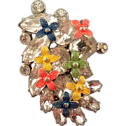 REDUCED Jaunty Clear Rhinestone Dress Clip with Enameled Flower Accents