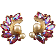 REDUCED Kramer Textured Goldtone and Red Navette Earrings - with Faux Pearls