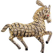 REDUCED Coro Pave' Rhinestone Prancing Circus Zebra Brooch