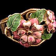 REDUCED Huge Enameled 1930s Clamper Bracelet - Pink Flowers and Green Leaves